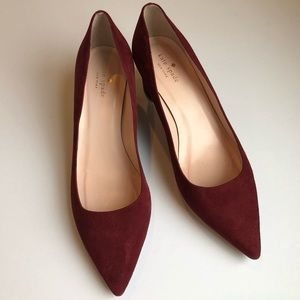 KATE SPADE Milan Too Pointy Toe Burgundy Gold Pump